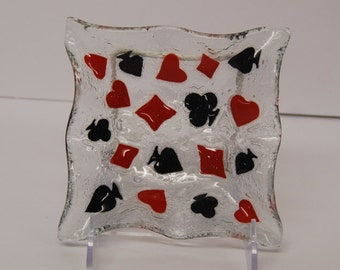 Fused art glass dish with PLAYING CARD SYMBOLS