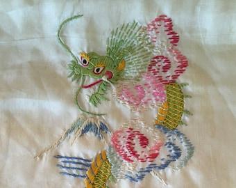 Embroidered Dragon Silk Scarf