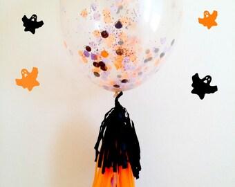 """36"""" Halloween confetti balloon. jumbo confetti balloon. halloween balloons. halloween party decor. giant confetti filled balloons. confetti"""
