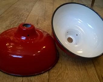 Enamel Lamp Shade - red