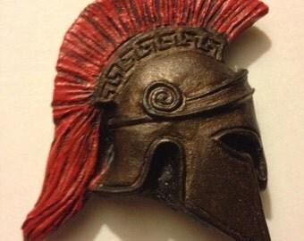 Spartan helmet magnet side profile bronze or steel finish