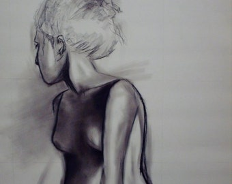 Charcoal and Pastel Female Drawing Fine Art