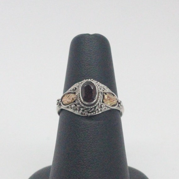 Vintage Garnet 14k Gold Plated Silver Ring   Garnet Silver Ring   Red and Silver Ring   Vintage Red Ring
