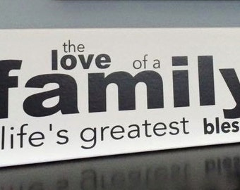 "Family Blessings 4x12"" Canvas Sign"