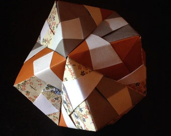 12-Piece Modular Origami Sonobe Ball (Gray/Brown/Creme Patterned)