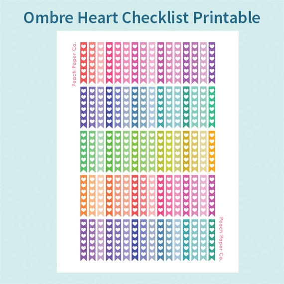 80 Heart Checklist Printable Stickers / Pastel Stickers