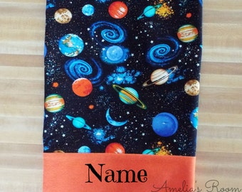 Space Pillowcase, Moon, Saturn, Boys PIllowcase, Outter Space, BeO,  Embroidered, Monogrammed, Personalized,Over the Moon