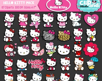 INSTANT DOWNLOAD [[ 67 ITEMS ]] Hello Kitty-Cliparts set ||Transparent background|