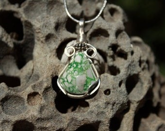 Variscite wire wrapped pendant.  Silver plated wire. Handcrafted Stone.