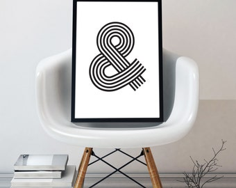 Modern Ampersand Print, Instant Digital Download,A4 and A3 Sizes, Printable Poster, Black & White Print, Typography Wall Art, Home Decor