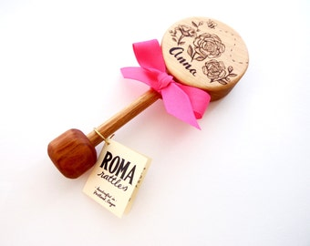Personalized Baby Gift | Custom Rose Wooden Baby Rattle | Heirloom Gifts | Natural Wood Baby Teether Toys | New Baby Shower Gift