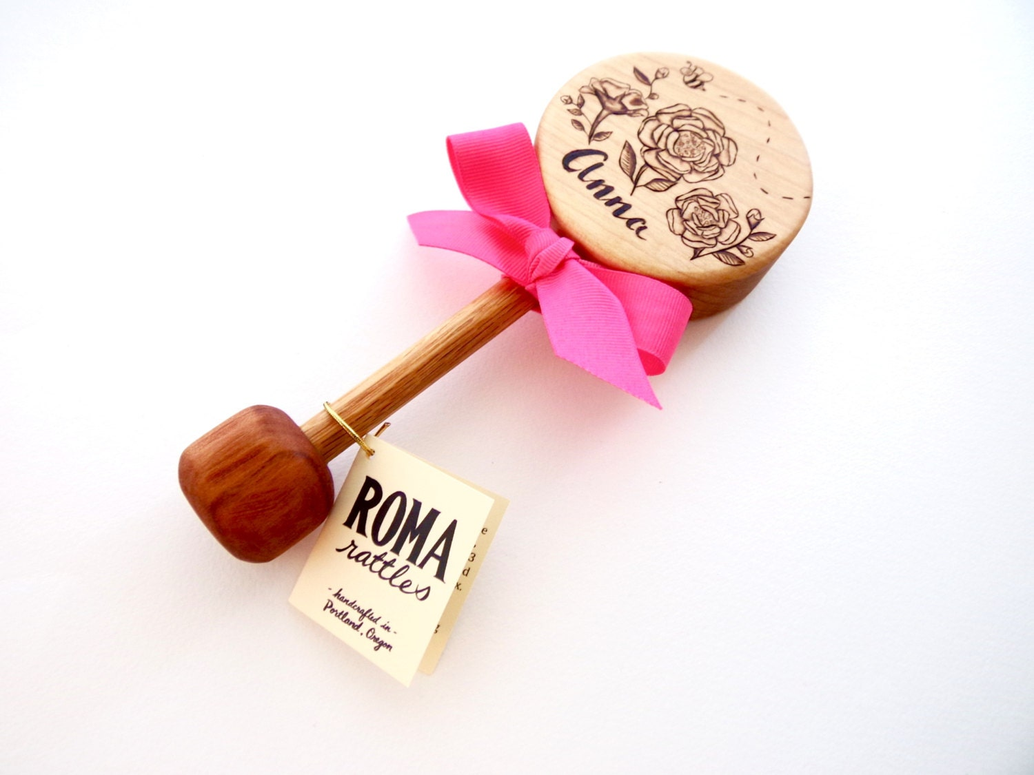Wooden baby gifts ireland personalised new baby present christening personalized baby gift custom rose wooden rattle negle Image collections