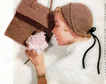 1950's Mid Century Cloche & Purse PDF Pattern Instant Download