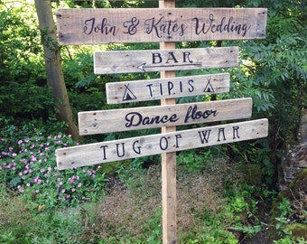 Wedding Signs, Wedding Signpost, Rustic Wedding, Signpost, Wood Wedding Sign, Rustic Wedding Sign, Personalised Sign, Hand Painted Sign