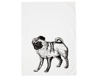 Hand Printed Pug Tea Towel
