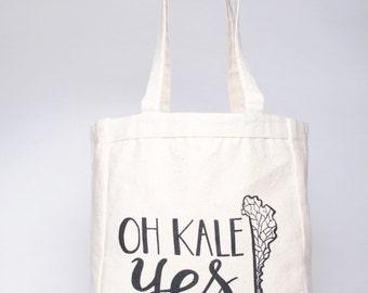 Printed Canvas TOTE BAG // Oh Kale Yes Farmers Market Tote Bag // VEGAN Reusable Bag