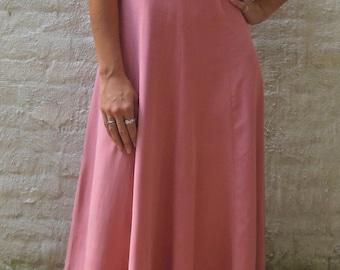 100% Silk Pink Laura Ashley Vintage Maxi Dress Size 8