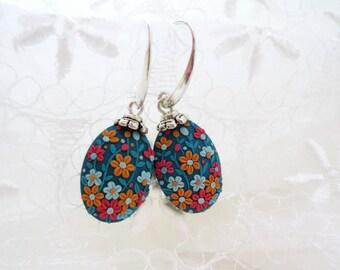 Blue Floral Earrings, Dangle Oval Flower Earrings, Polymer Clay Flower Earrings, Gift For Her, Christmas Gift For Her