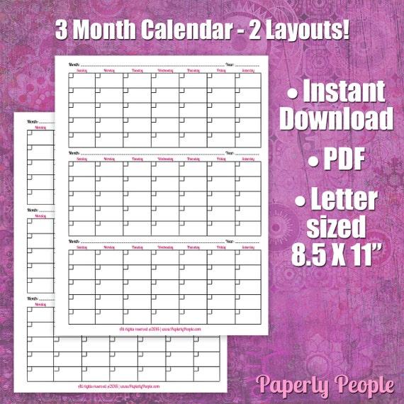 Diy Calendar Binding : Month calendar printable planner sheets letter