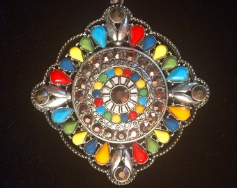 Elegant vibrantly colored South AfricanTribal Pendant