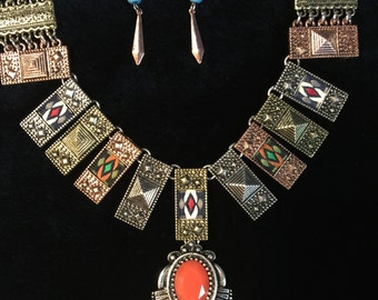 Native Tribal Art Deco Design Necklace and Earrings set