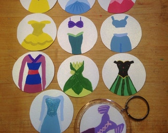 Minimalist Disney princess dress keychains