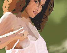 Afro american woman - Digital painting printable - Instant download - Little artwork
