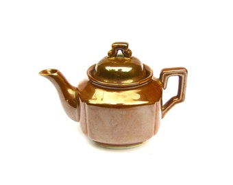 Japanese Lusterware Teapot, Small Single Serve Brown Bronze Vintage Teapot, Brown Teapot 1960s