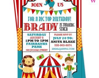 Fun Time Circus Printable Invitation- 4x6 or 5x7 inch Custom Circus Party Invitation- Printable Circus Birthday Party Invitation, Big Top