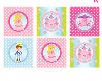 Little Princess Printable Party Favor Tags, 2 IN Cupake Toppers, Princess Party Square Tags, Princess Birthday Tags, Pink Princess Printable