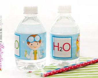 Kids Scientist Printable Water Bottle Wrapper, Science Party Bottle Labels, Instant Download, H2O Printable Water Bottle Wrappers, H2O label