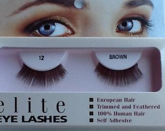 Human hair false eyelashes #12 brown