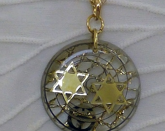 Judaica Pendant - Hand Made, One of a Kind Resin with 2 Jewish Stars, includes Chain