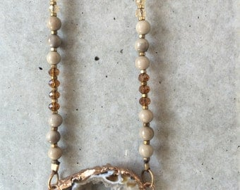 druzy gold  leather beaded adjustable leather long necklace