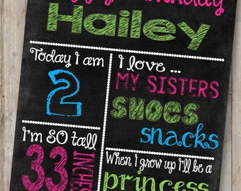 Birthday Girl Chalkboard Sign *Custom DIGITAL FILE*