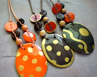 Ethnic Inspired Painted Shell Pendant Necklaces ~ Brown and Orange ~ Three Designs to choose from - Length = 19""