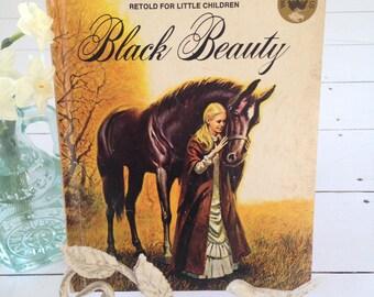 Black Beauty - retold for little children, 1974, vintage children's book, wonder books
