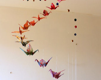 "Beads and Japanese Origami Cranes pattern ""spiral"" baby mobile"