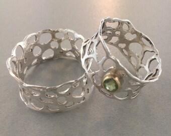 Hand Pierced Silver Ruffle Ring