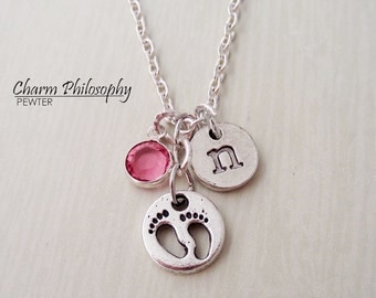 Baby Feet Necklace - Antique Silver New Mom Necklace - New Mother Gift - Monogram Personalized Initial and Birthstone