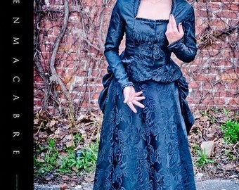 Victorian Bustle Dress- Black Wedding Gown