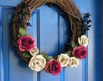 Book Page Rose Grapevine Wreath – Custom, handmade home décor