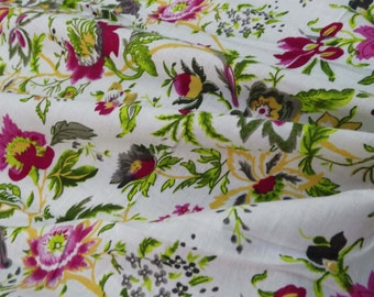 """41"""" Width Floral Fabric Craft Material Dressmaking Fabric For Sewing Dress Apparel Indian Pure Cotton Sewing Supply Fabric By 1 Yard ZBC5589"""