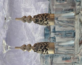 Wedding glasses, Silver plated toasting flutes, hand decorated - Set of 2 champagne flutes