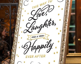 Printable Wedding Welcome Sign, Gold Foil Sign, Welcome Sign, Wedding Decor, Happily Ever After, Party Decor, Black and Gold