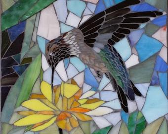 Hummingbird with yellow chrysanthemum, stained glass mosaic