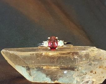 Rhodolite Garnet and Opal Ring 925 SS