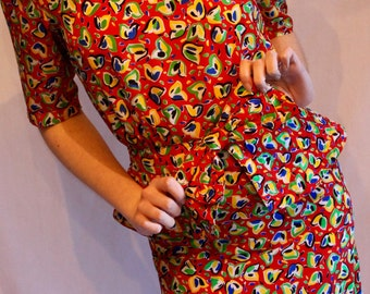 Vintage party dress with peplum / multi-coloured / red, yellow, green and blue / 1980s / party time!