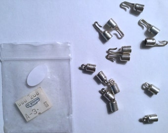Sterling Silver Tube-End Hook and Eye Clasp 7 Sets