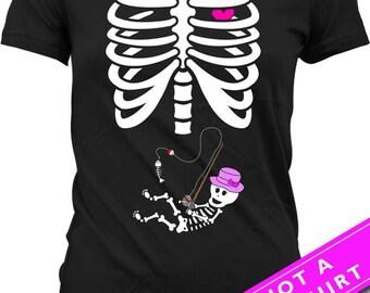 Pregnant Skeleton Shirt Halloween Pregnancy Announcement T Shirt Pregnancy Reveal Shirt Skeleton Baby Girl Fishing T-Shirt Ladies Tee MAT-49